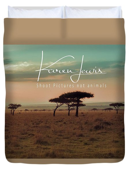 Duvet Cover featuring the photograph Pastel Dawn On The Mara by Karen Lewis