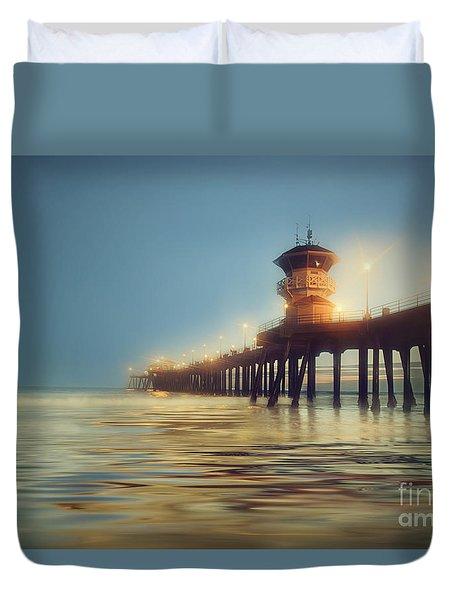 Pastel Evening At Huntington Beach Pier Duvet Cover