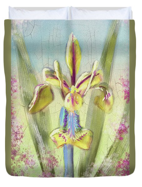 Duvet Cover featuring the digital art Pastel Iris by Lois Bryan