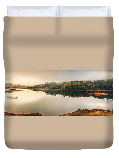 Pastel Lake Panorama Duvet Cover