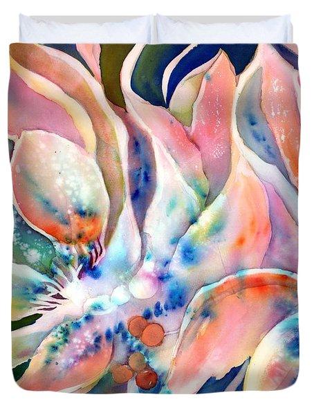 Pastel Lily Flowers Duvet Cover