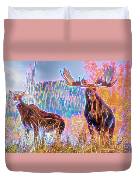 Duvet Cover featuring the photograph Pastel Moose Couple by Ray Shiu