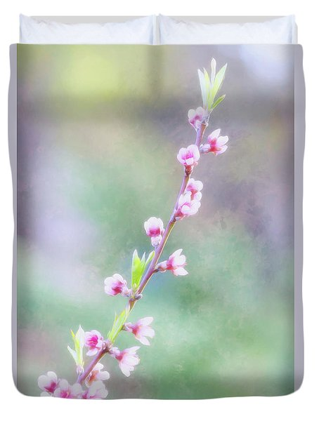 Pastel Painted Peach Blossoms Duvet Cover