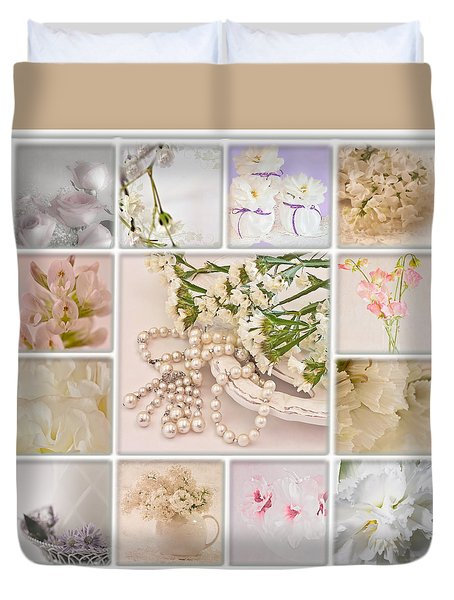 Pastel Photo Collage  Duvet Cover by Sandra Foster