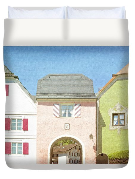 Duvet Cover featuring the photograph Pastel Pink Green Blue European Architecture by Brooke T Ryan