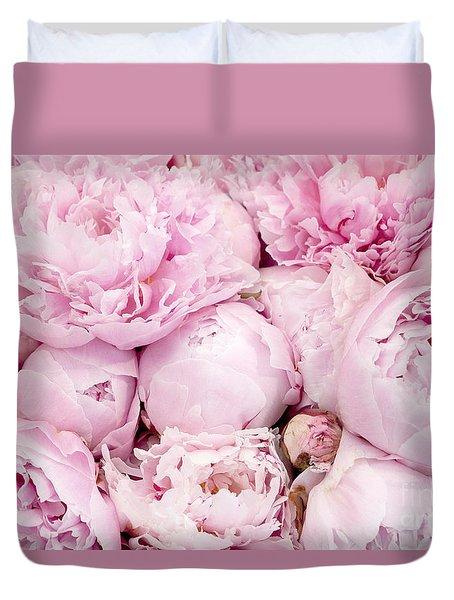 Pastel Pink Peony Flowers - Pink Peony Decor - Peonies - Shabby Chic Pink Peony Flowers Duvet Cover
