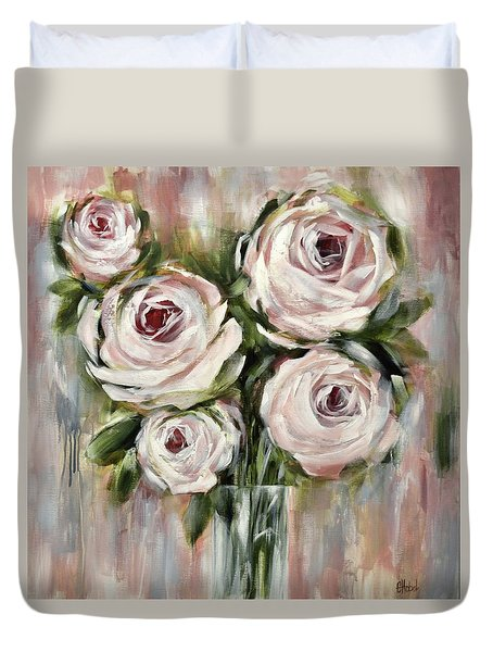 Pastel Pink Roses Duvet Cover by Chris Hobel