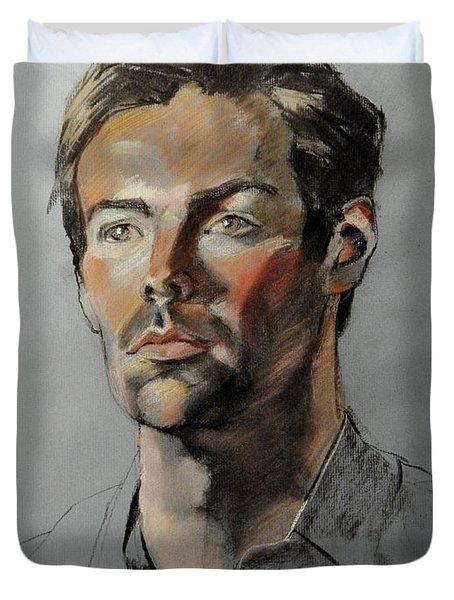 Pastel Portrait Of Handsome Guy Duvet Cover
