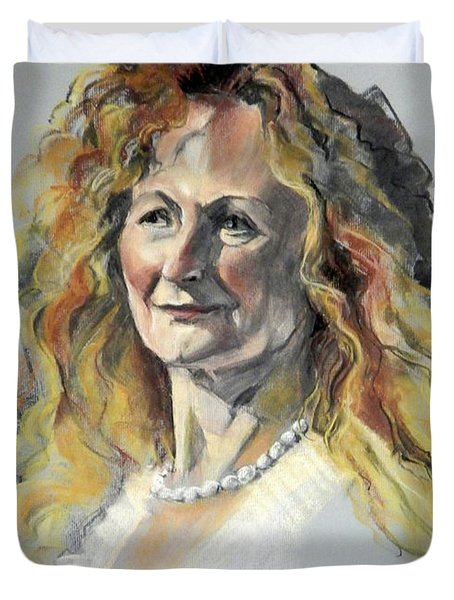 Pastel Portrait Of Woman With Frizzy Hair Duvet Cover