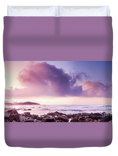 Pastel Purple Seashore Duvet Cover
