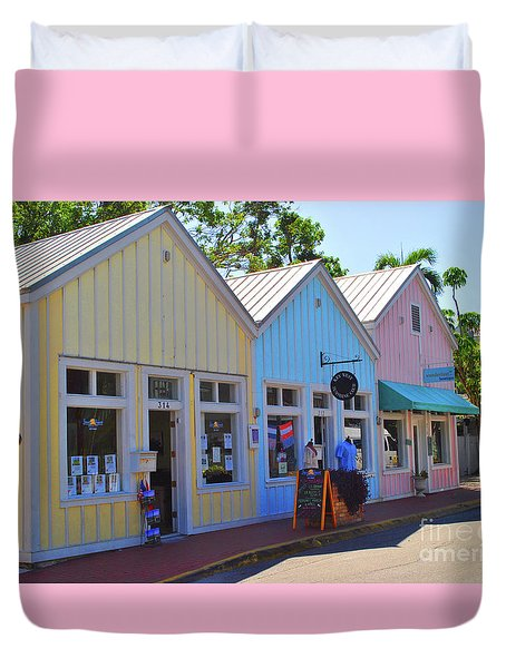 Duvet Cover featuring the photograph Pastel Row by Jost Houk