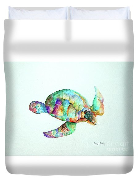 Pastel Sea Turtle Duvet Cover by Tamyra Crossley