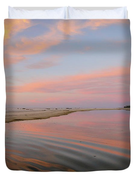 Pastel Skies And Beach Lagoon Reflections Duvet Cover