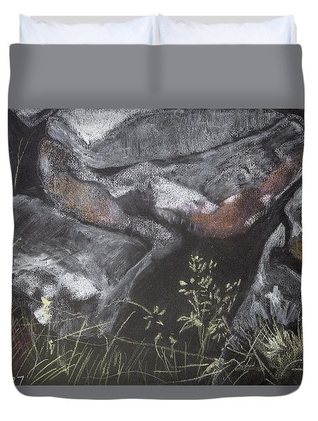 Pastel Stones And Plants On Black Duvet Cover