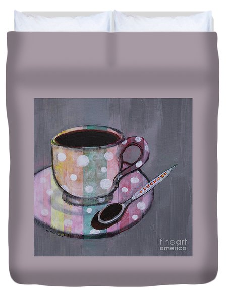 Duvet Cover featuring the painting Pastel Stripes Polka Dotted Coffee Cup by Robin Maria Pedrero