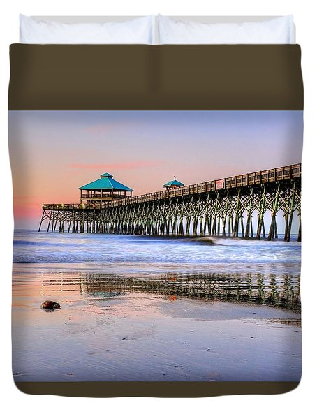 Pastel Sunrise On Folly Beach Pier In Charleston South Carolina Duvet Cover