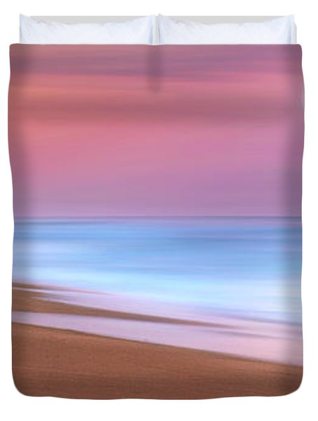 Pastel Sunset And Moonrise Over Hutchinson Island Beach, Florida. Duvet Cover