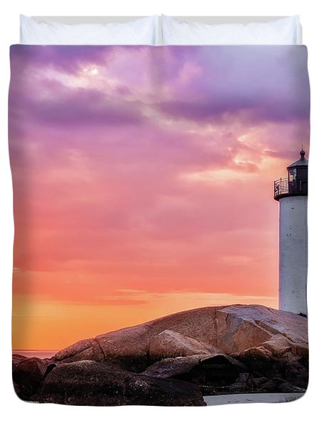 Pastel Sunset, Annisquam Lighthouse Duvet Cover