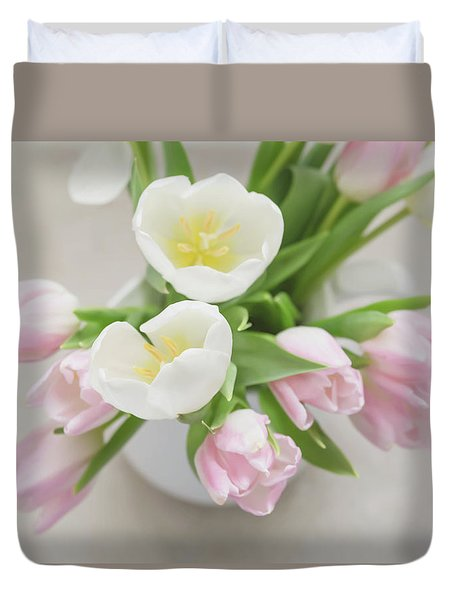Duvet Cover featuring the photograph Pastel Tulips by Kim Hojnacki