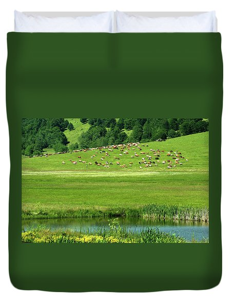Pasture And Lake Duvet Cover