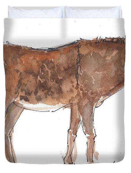 Pasture Boss 2015 Watercolor Painting By Kmcelwaine Duvet Cover