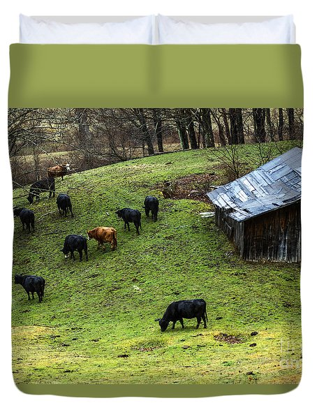 Pasture Field And Cattle Duvet Cover