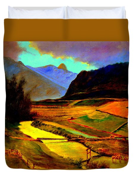 Pasture In The Mountains Duvet Cover