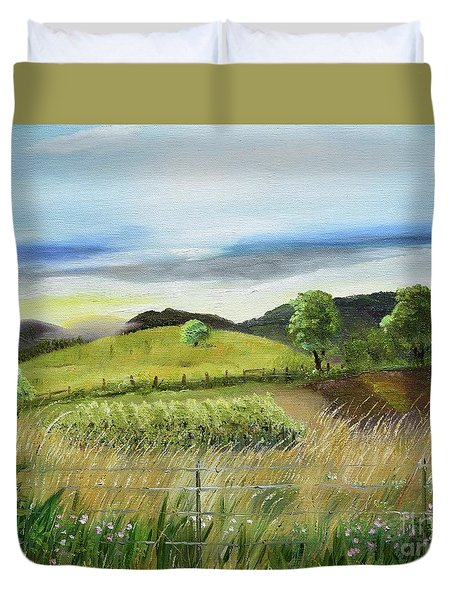 Duvet Cover featuring the painting Pasture Love At Chateau Meichtry - Ellijay Ga by Jan Dappen