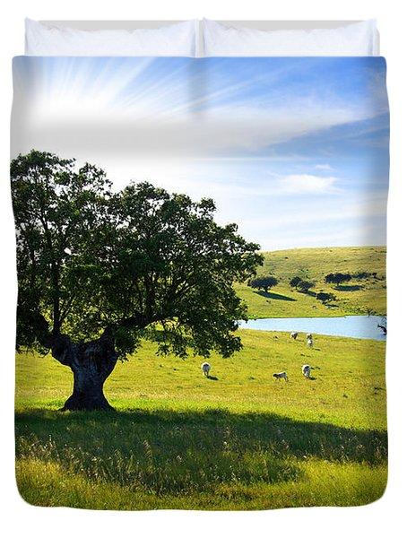 Pasturing Cows Duvet Cover