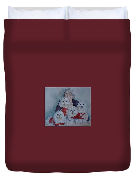 Pat And Her Babies Duvet Cover by Gloria Turner