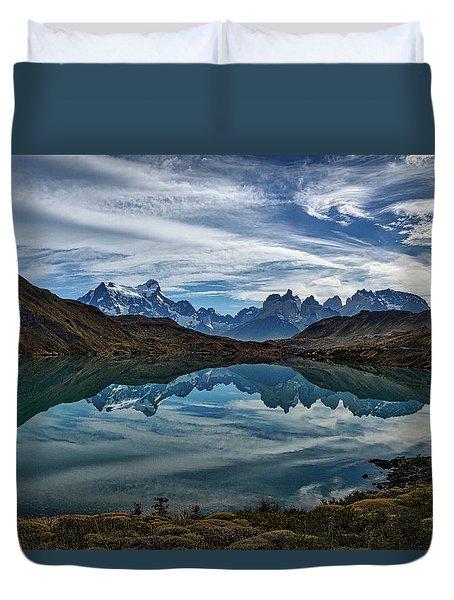 Patagonia Lake Reflection - Chile Duvet Cover