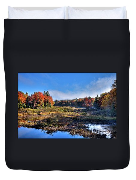 Duvet Cover featuring the photograph Patches Of Fog At The Green Bridge by David Patterson