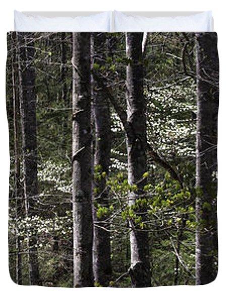 Patchwork Dogwood Panorama Duvet Cover