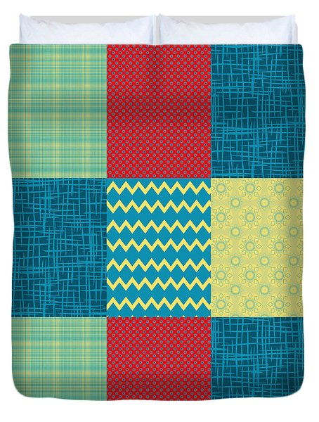 Patchwork Patterns - Muted Primary Duvet Cover by Shawna Rowe