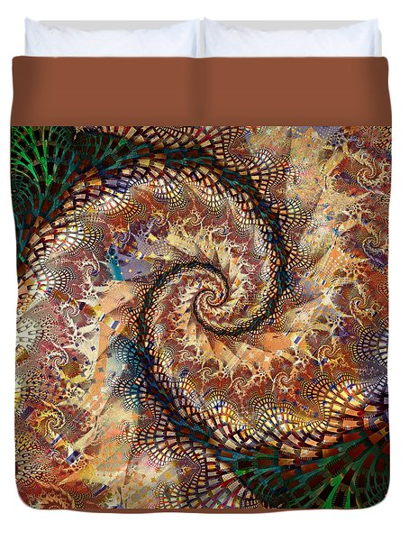 Duvet Cover featuring the digital art Patchwork Spiral by Richard Ortolano