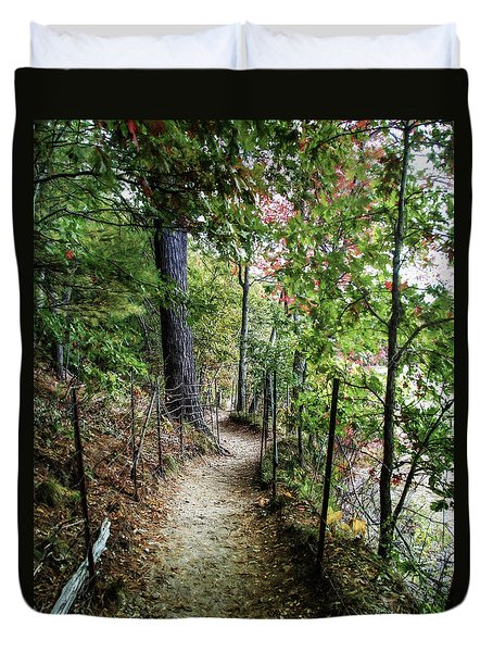 Path Along The Pond Duvet Cover