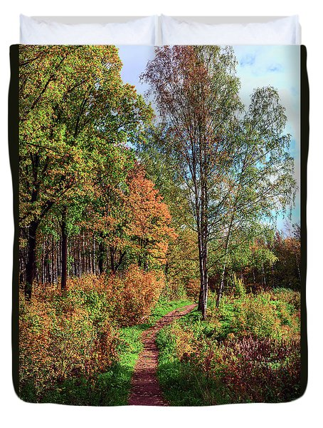 path in a beautiful country Park on a Sunny autumn day Duvet Cover