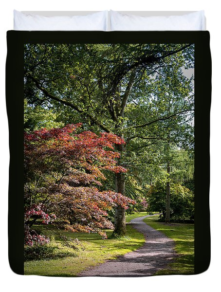 Duvet Cover featuring the photograph Path Through Autumn Forest by Scott Lyons