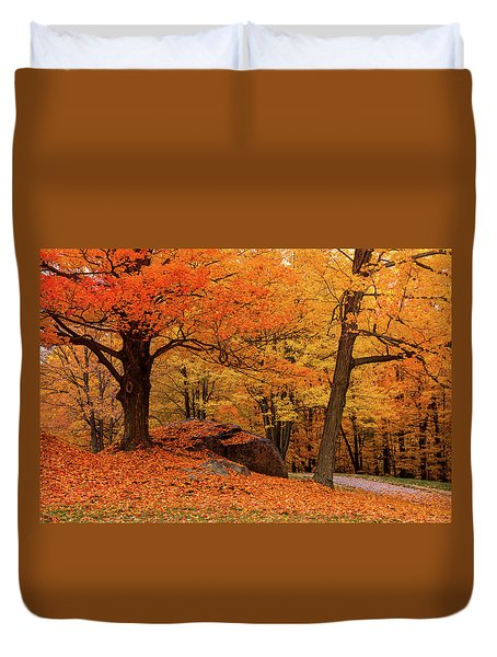 Duvet Cover featuring the photograph Path Through New England Fall Foliage by Jeff Folger