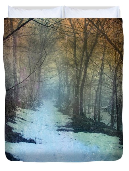 Path Through The Woods In Winter At Sunset Duvet Cover