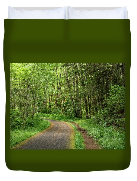 Duvet Cover featuring the photograph Path Through The Woods by Jean Noren