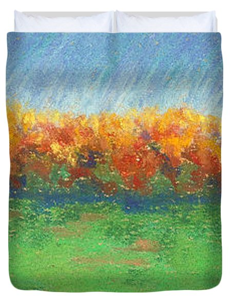 Path To Autumn Trees Duvet Cover