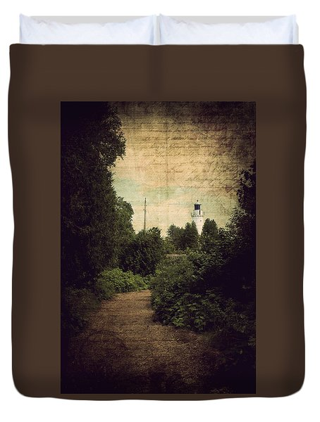 Path To Cana Island Lighthouse Duvet Cover