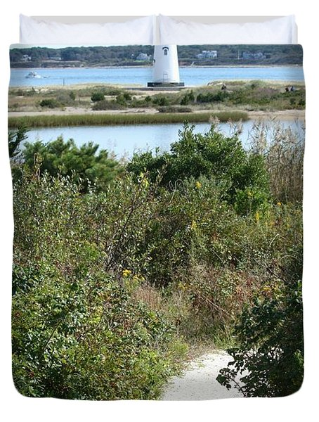 Path To Edgartown Lighthouse Duvet Cover by Carol Groenen