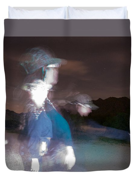 Duvet Cover featuring the photograph Path To Freedom A Light Painting  by Carolina Liechtenstein