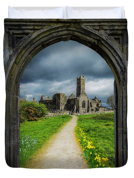 Duvet Cover featuring the photograph Path To Ireland's Quin Abbey, County Clare by James Truett