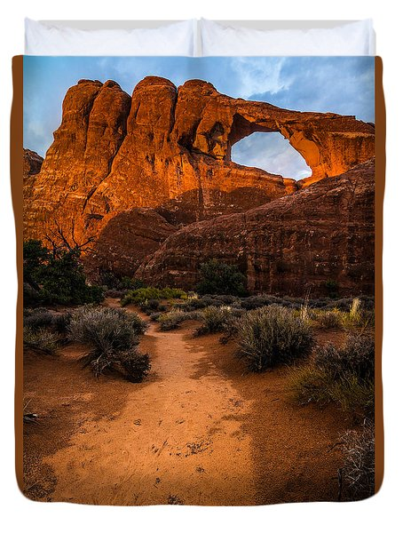Duvet Cover featuring the photograph Path To Skyline Arch At Sunset - Utah  by Gary Whitton