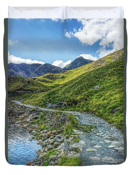 Duvet Cover featuring the photograph Path To Snowdon by Ian Mitchell