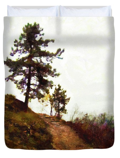 Duvet Cover featuring the painting Path To The Clouds by Menega Sabidussi