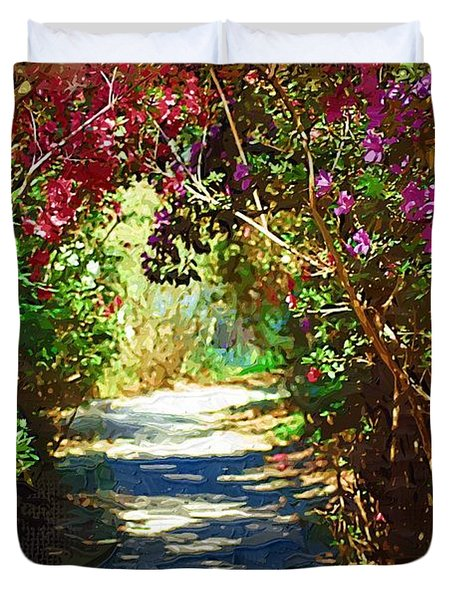 Duvet Cover featuring the digital art Path To The Gardens by Donna Bentley